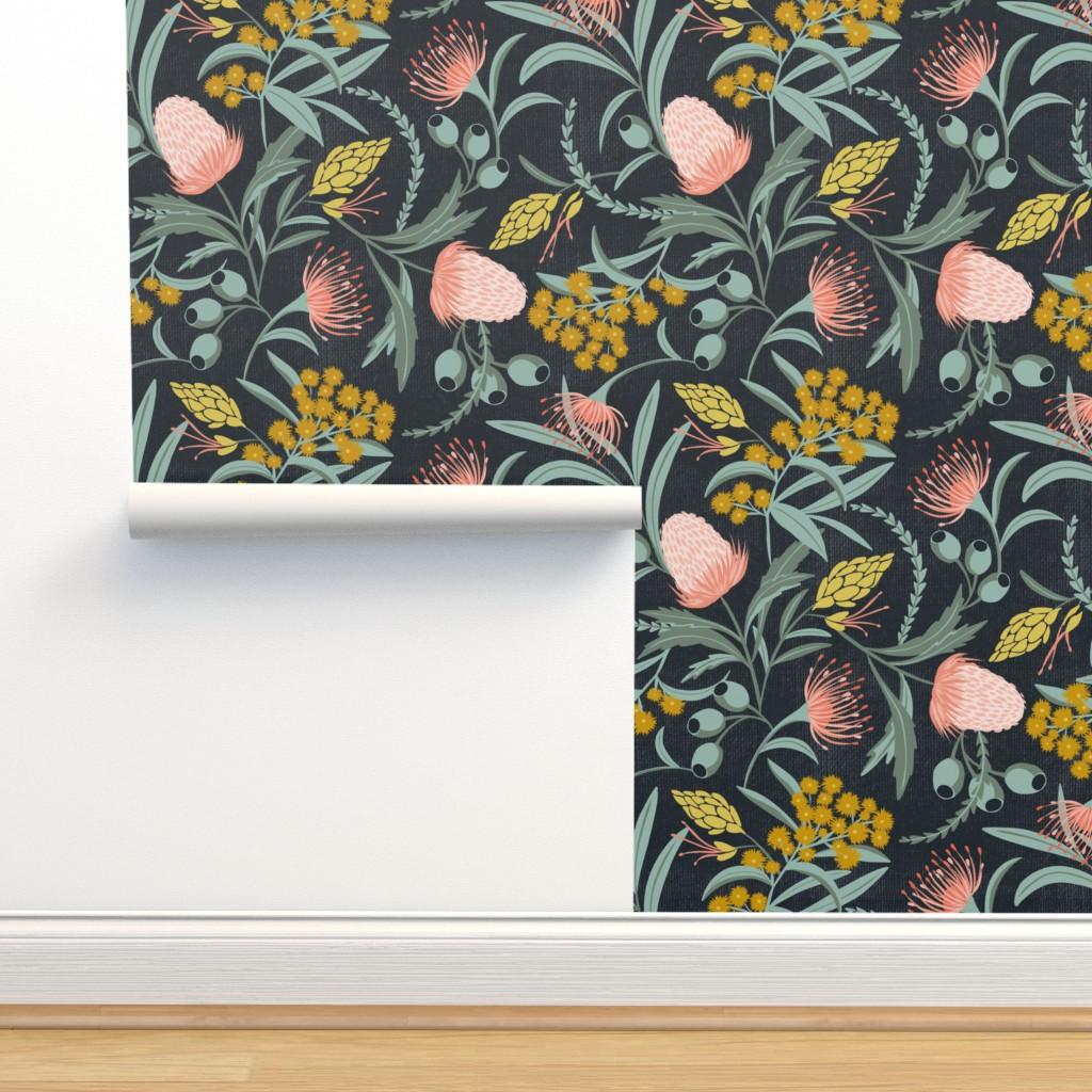 Isobar Durable Wallpaper featuring Flora Australis - Dark Floral Botanical Large Scale by heatherdutton