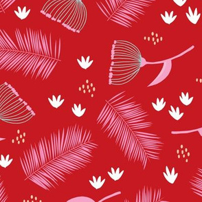Australian wild flowers and leaves summer day print pink red