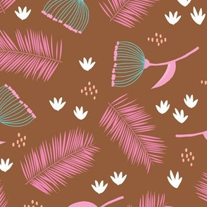 Australian wild flowers and leaves summer day print pink rust