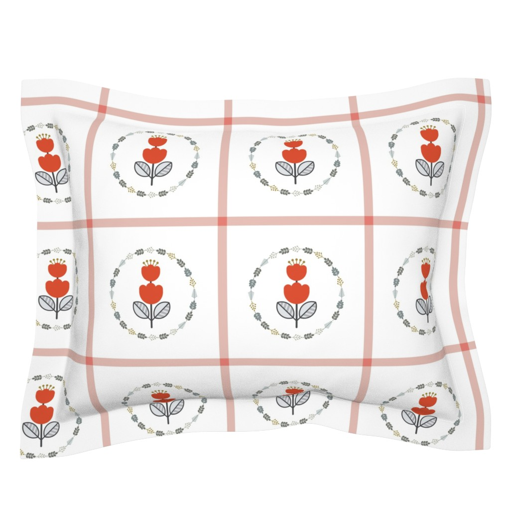 Sebright Pillow Sham featuring Scandi Flair1-Red_Floral by twigged