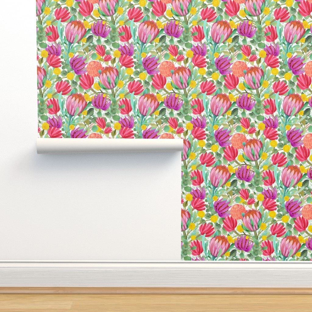Isobar Durable Wallpaper featuring Billy Buttons, Protea, Eucalyptus - Australia  Watercolor by vo_aka_virginiao