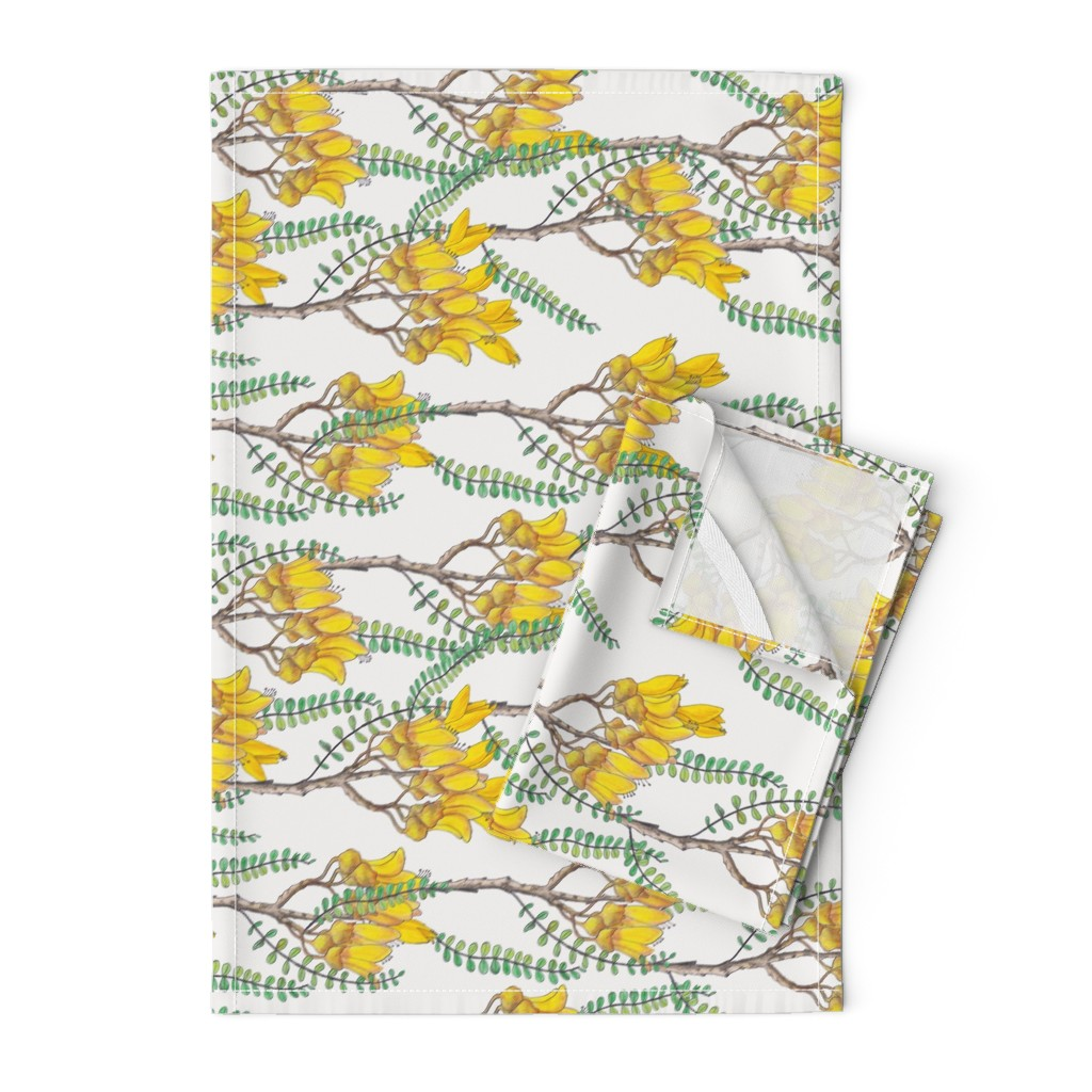 Orpington Tea Towels featuring Branches of Kowhai - Rotated  by pennyroyal