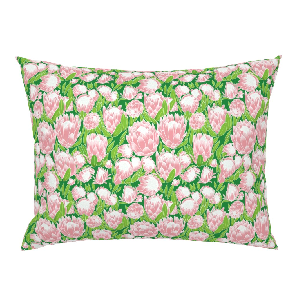 Campine Pillow Sham featuring Pink Ice Protea by stasiajahadi