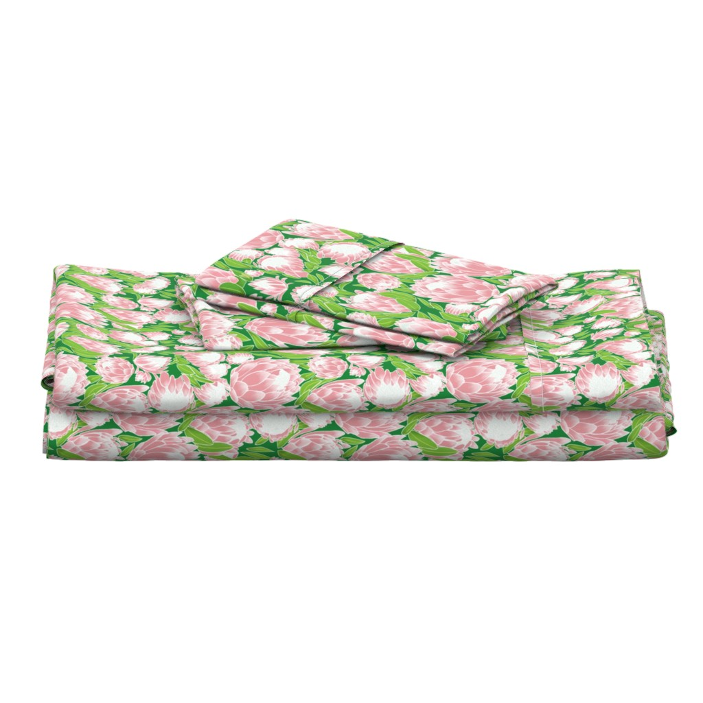 Langshan Full Bed Set featuring Pink Ice Protea by stasiajahadi