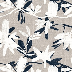 Faux screen printed Banksia on natural linen look || Australiana