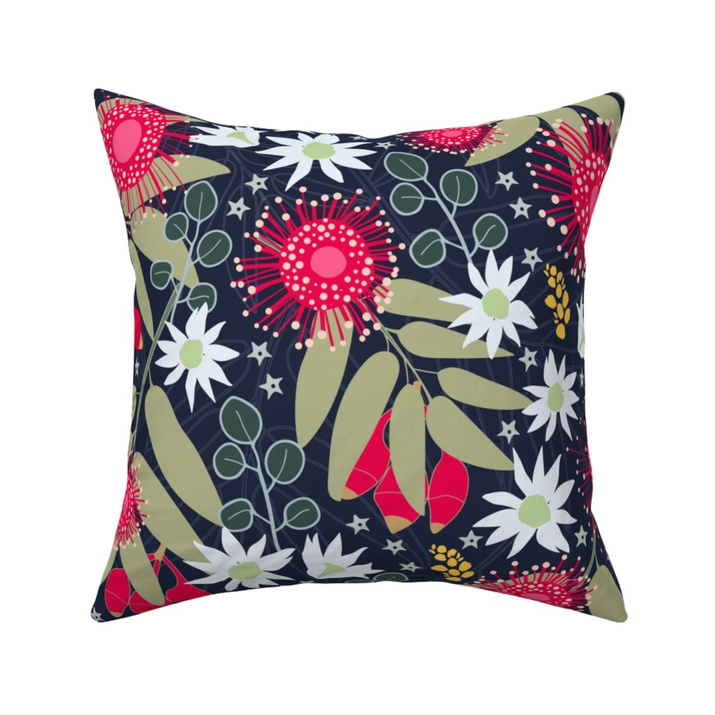 Catalan Throw Pillow featuring Gum Blossoms by creative_catmint
