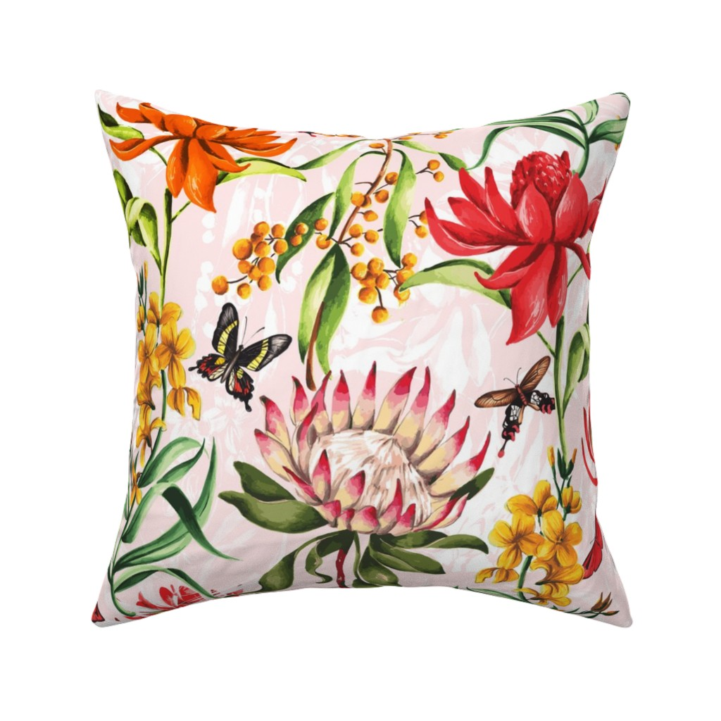 Catalan Throw Pillow featuring Australian Flora by dorinus_illustrations