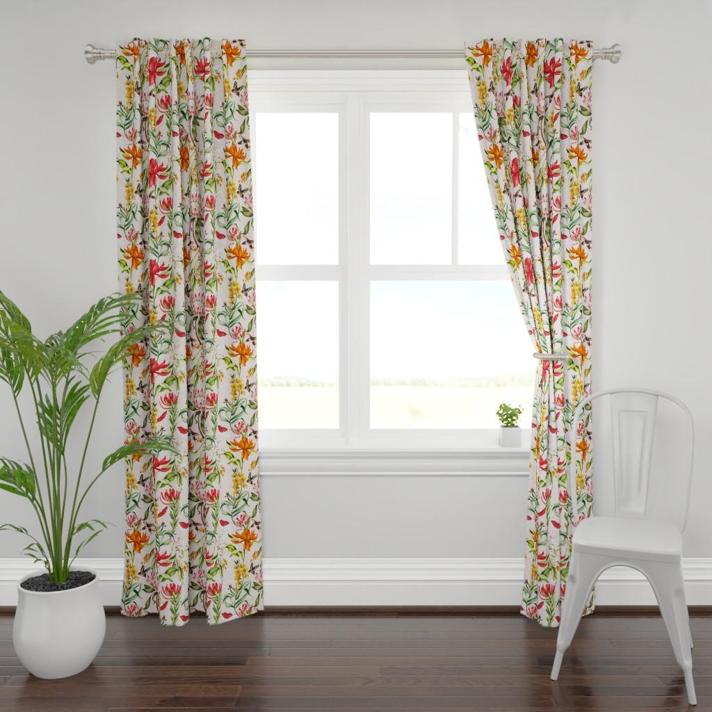 Plymouth Curtain Panel featuring Australian Flora by dorinus_illustrations