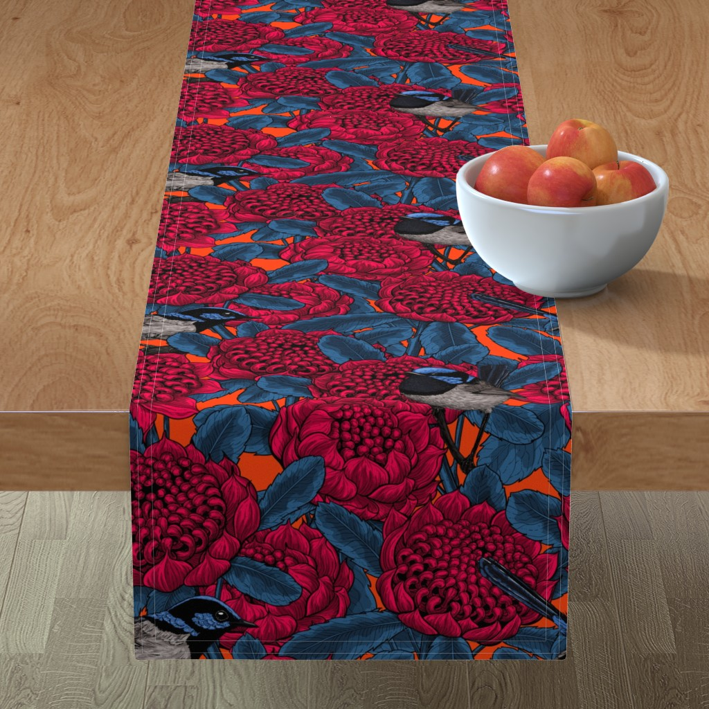 Minorca Table Runner featuring Red waratah and fairy wrens by katerina_kirilova