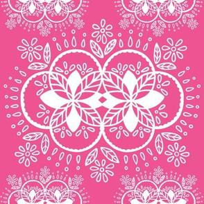 boho circular pink flowers