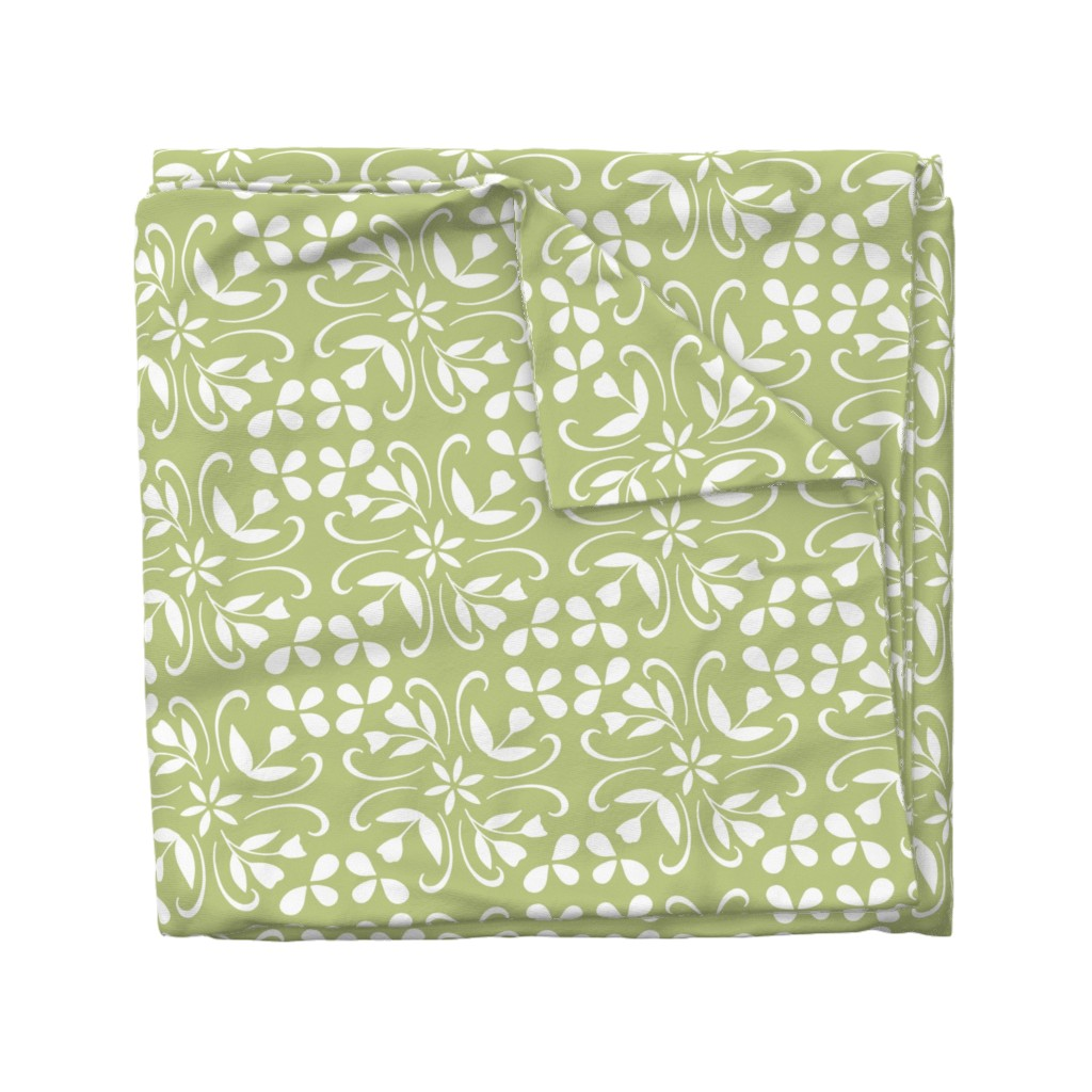 Wyandotte Duvet Cover featuring tulip inspired tile in lime by lzcathcart
