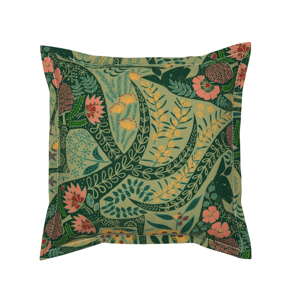 Serama Throw Pillow featuring Kangaroos in the Garden by meliszawang