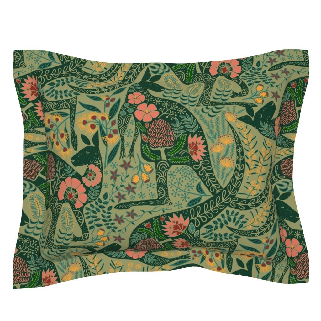 Sebright Pillow Sham featuring Kangaroos in the Garden by meliszawang