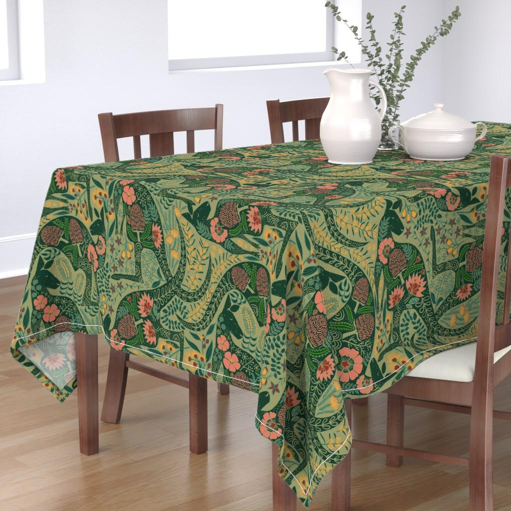 Bantam Rectangular Tablecloth featuring Kangaroos in the Garden by meliszawang