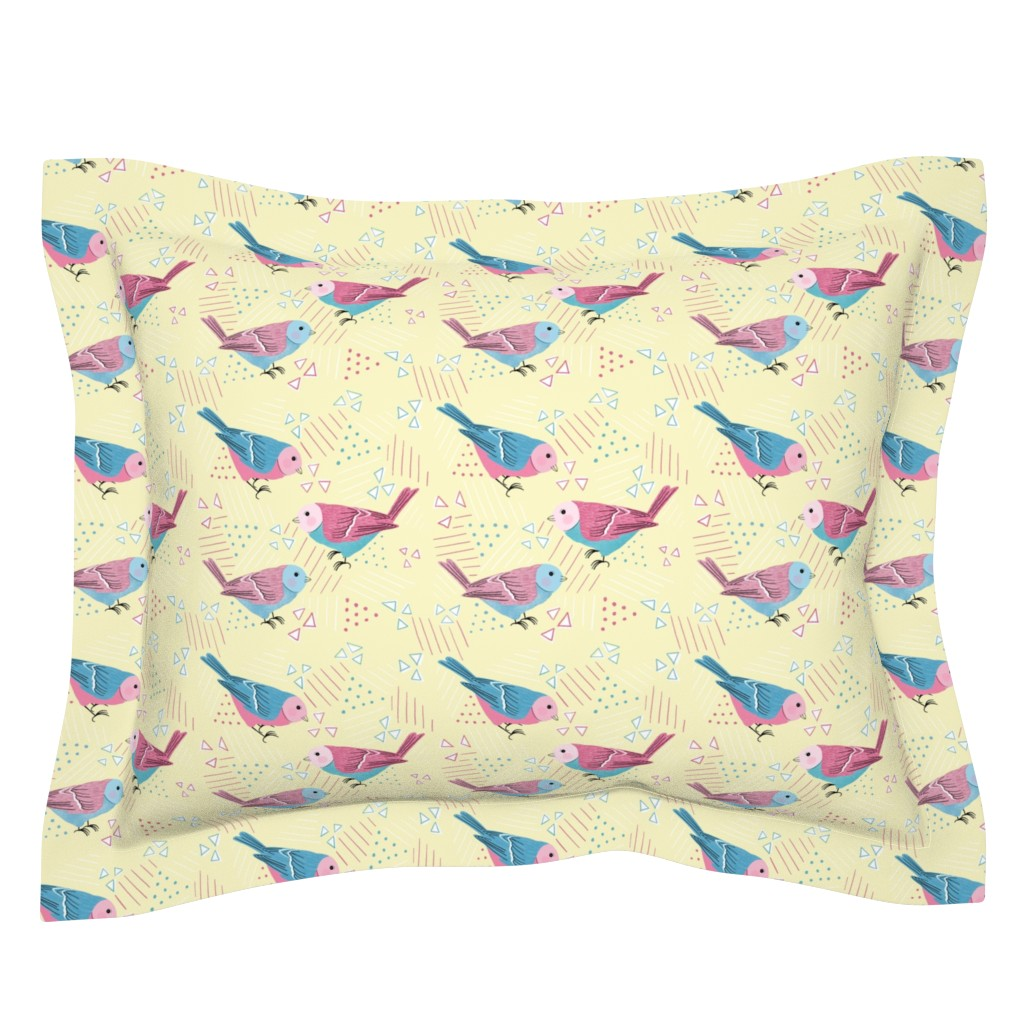 Sebright Pillow Sham featuring pink birdies by lzcathcart