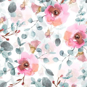 "18"" Australian Flora - hand drawn watercolor Eucalyptus and blush flowers on white"