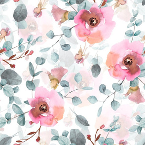 "18"" Australian Flora - hand drawn watercolor Eucalyptus and blush flowers on white"