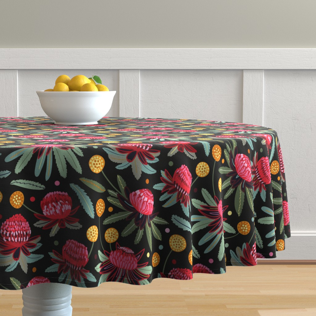 Malay Round Tablecloth featuring Waratahs and Craspedia (Large Version)  by tigatiga