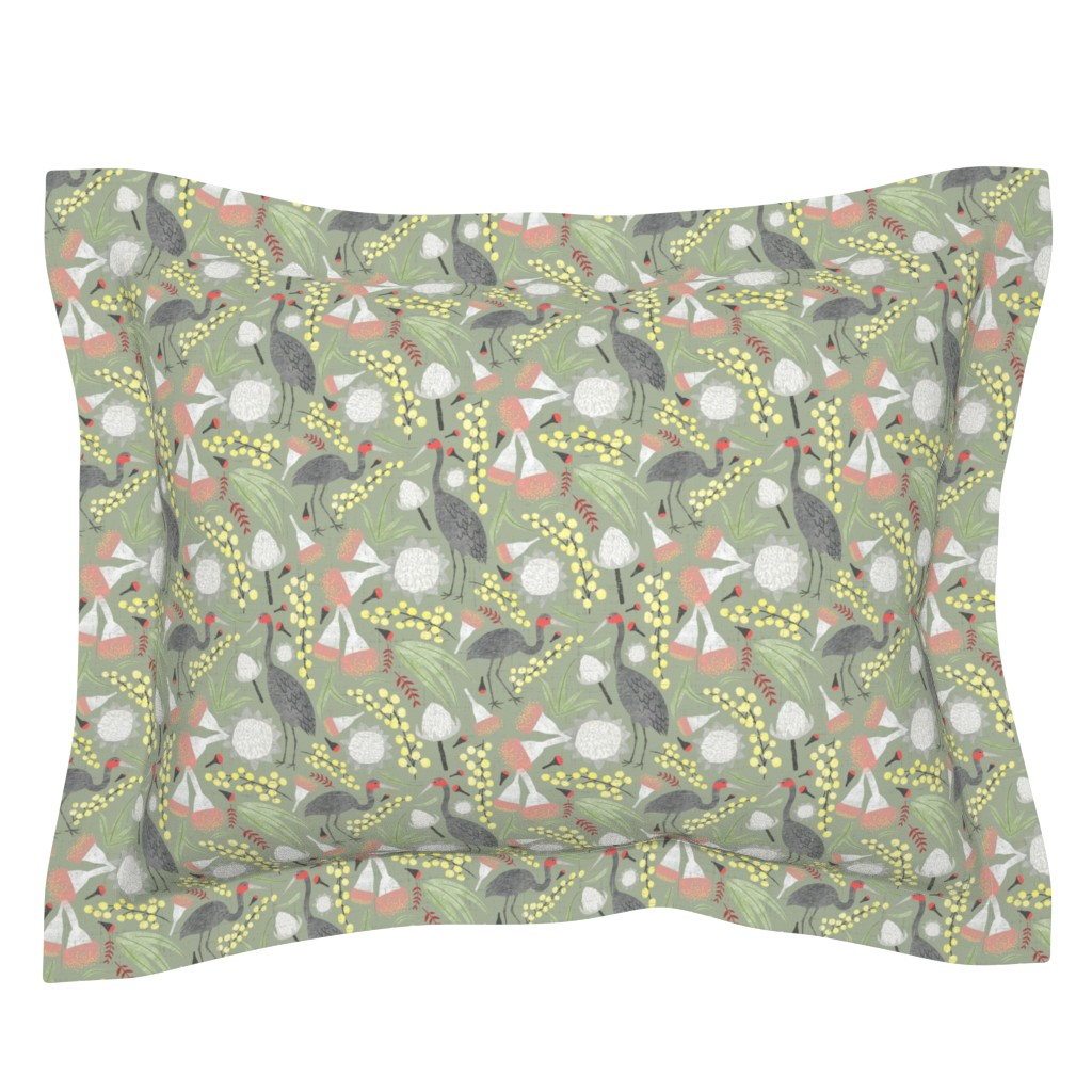 Sebright Pillow Sham featuring Brolgas and Blooms by arthousewife