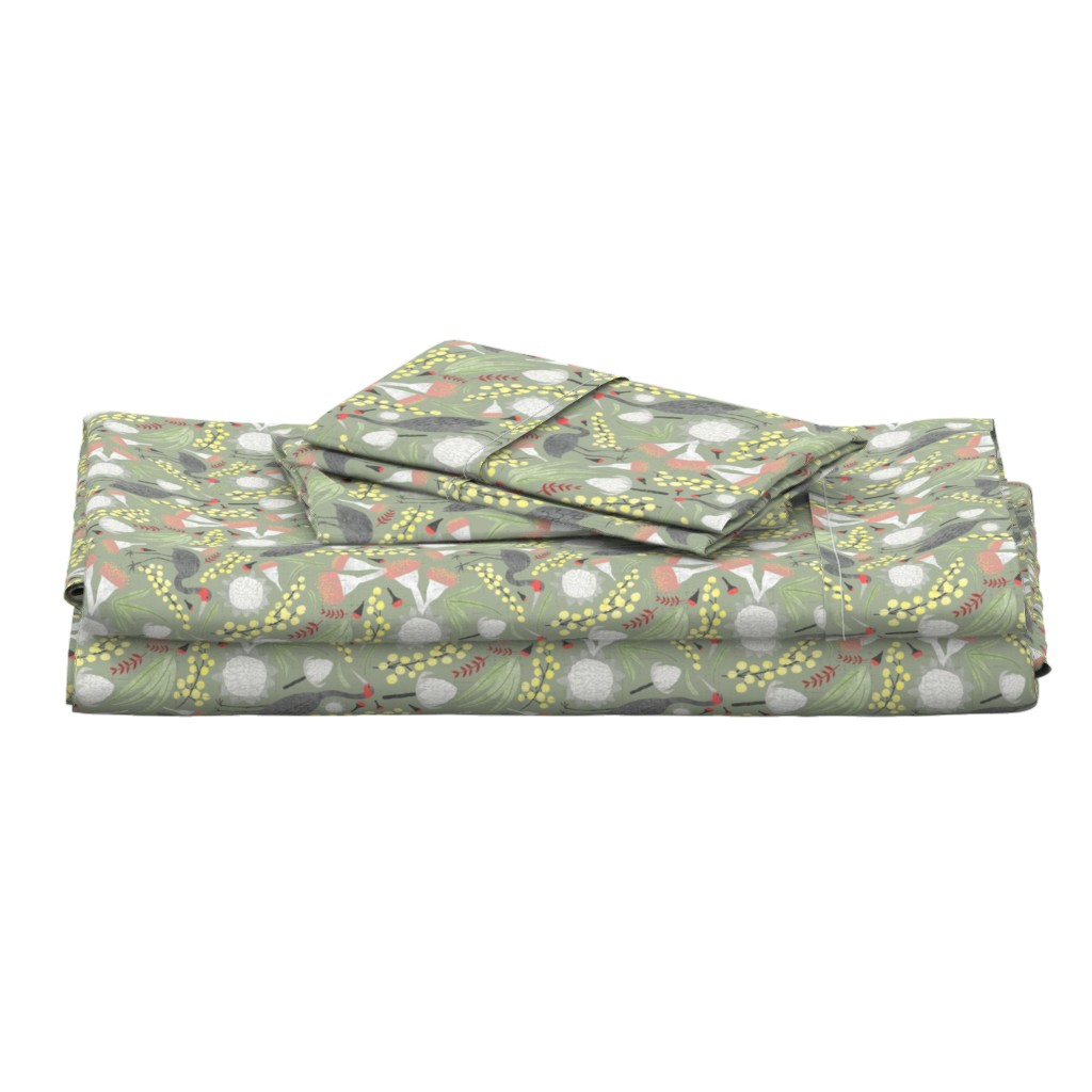 Langshan Full Bed Set featuring Brolgas and Blooms by arthousewife