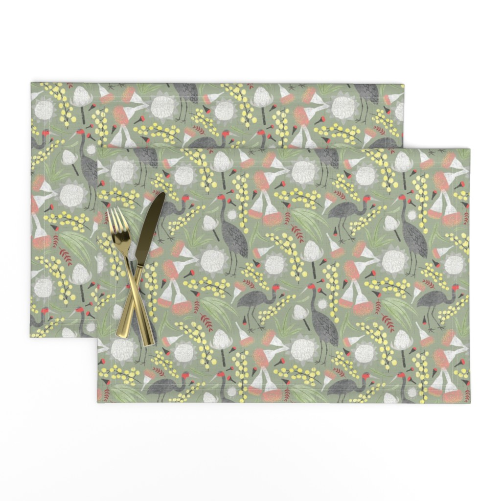 Lamona Cloth Placemats featuring Brolgas and Blooms by arthousewife