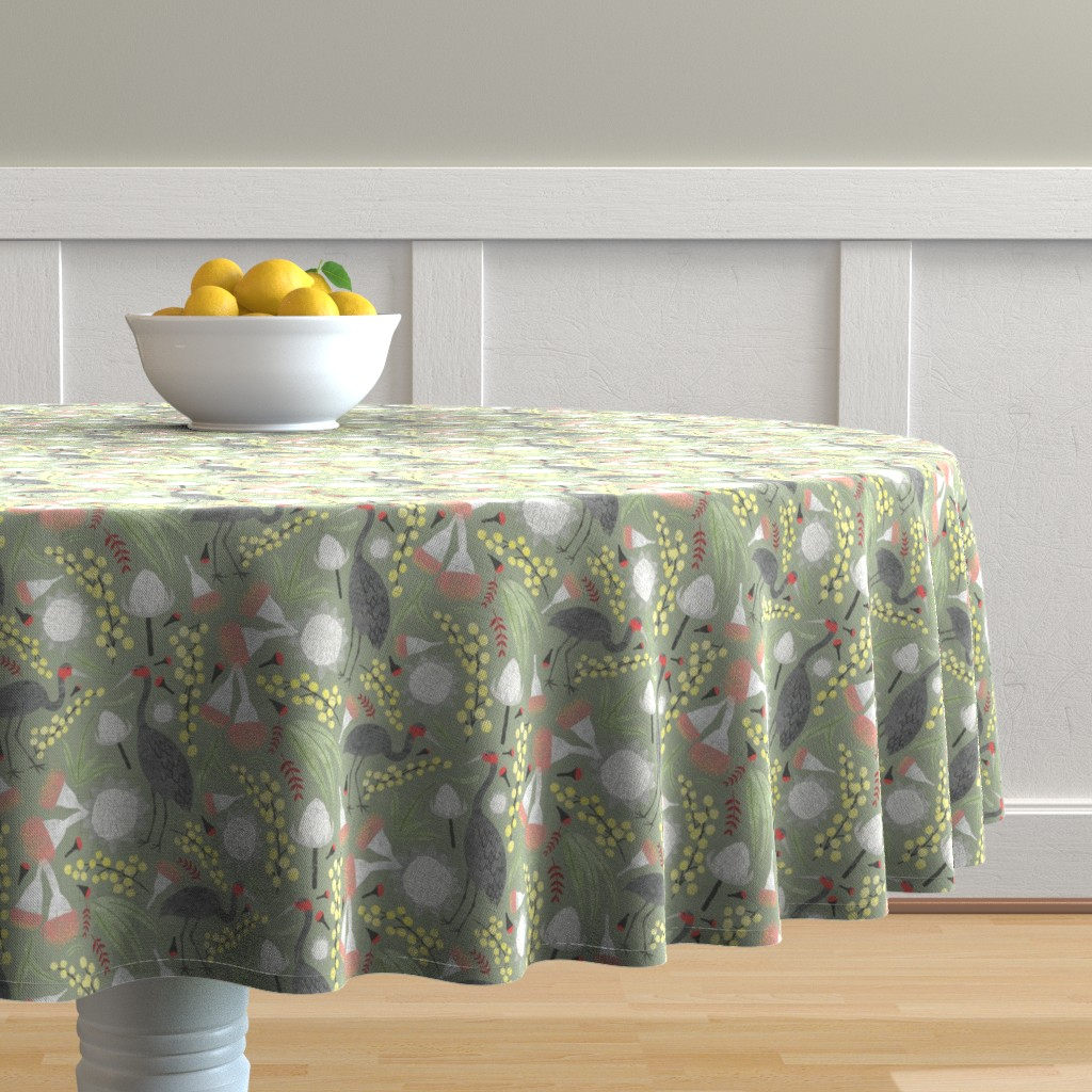 Malay Round Tablecloth featuring Brolgas and Blooms by arthousewife