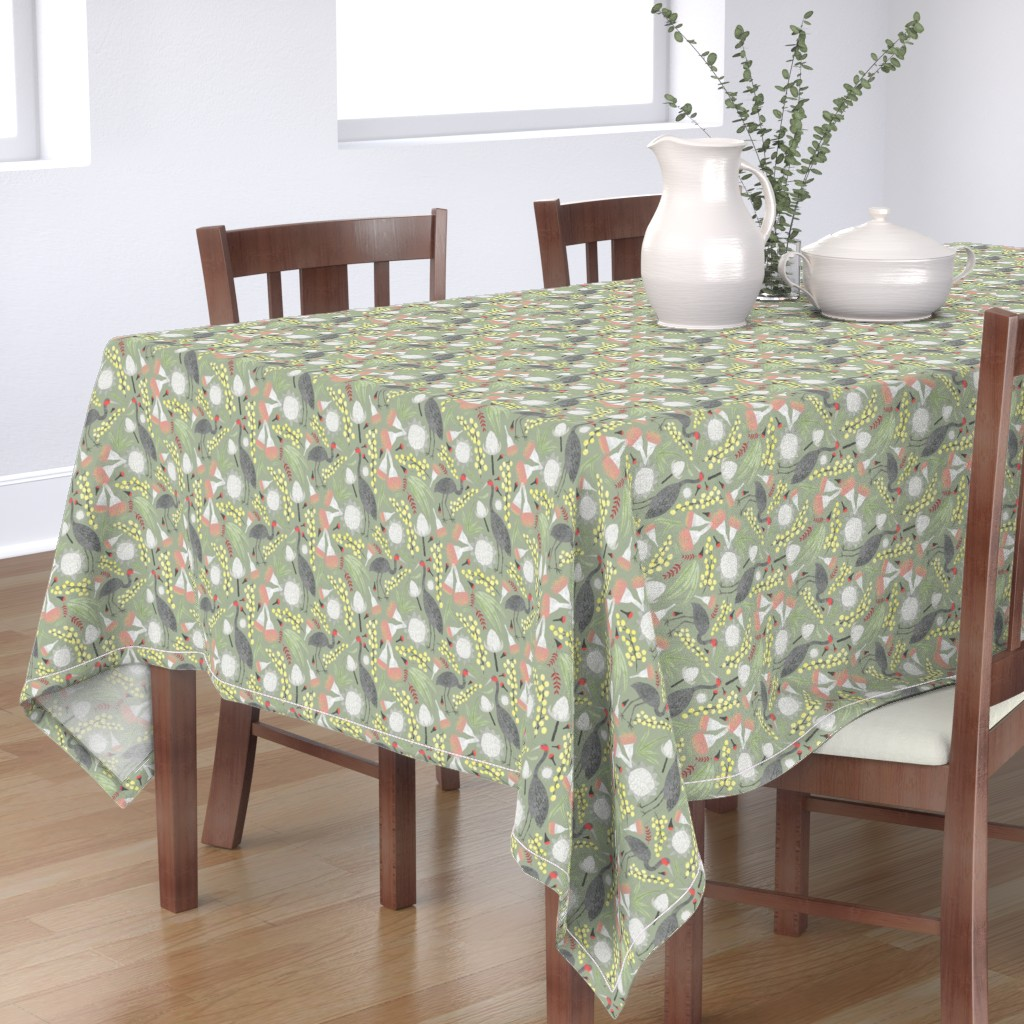 Bantam Rectangular Tablecloth featuring Brolgas and Blooms by arthousewife