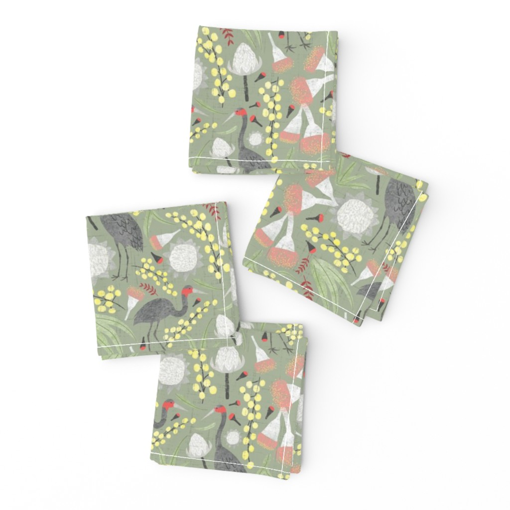 Frizzle Cocktail Napkins featuring Brolgas and Blooms by arthousewife