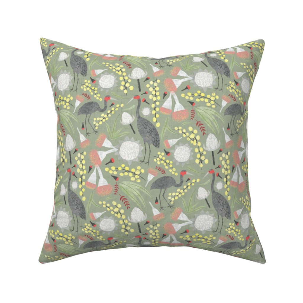 Catalan Throw Pillow featuring Brolgas and Blooms by arthousewife