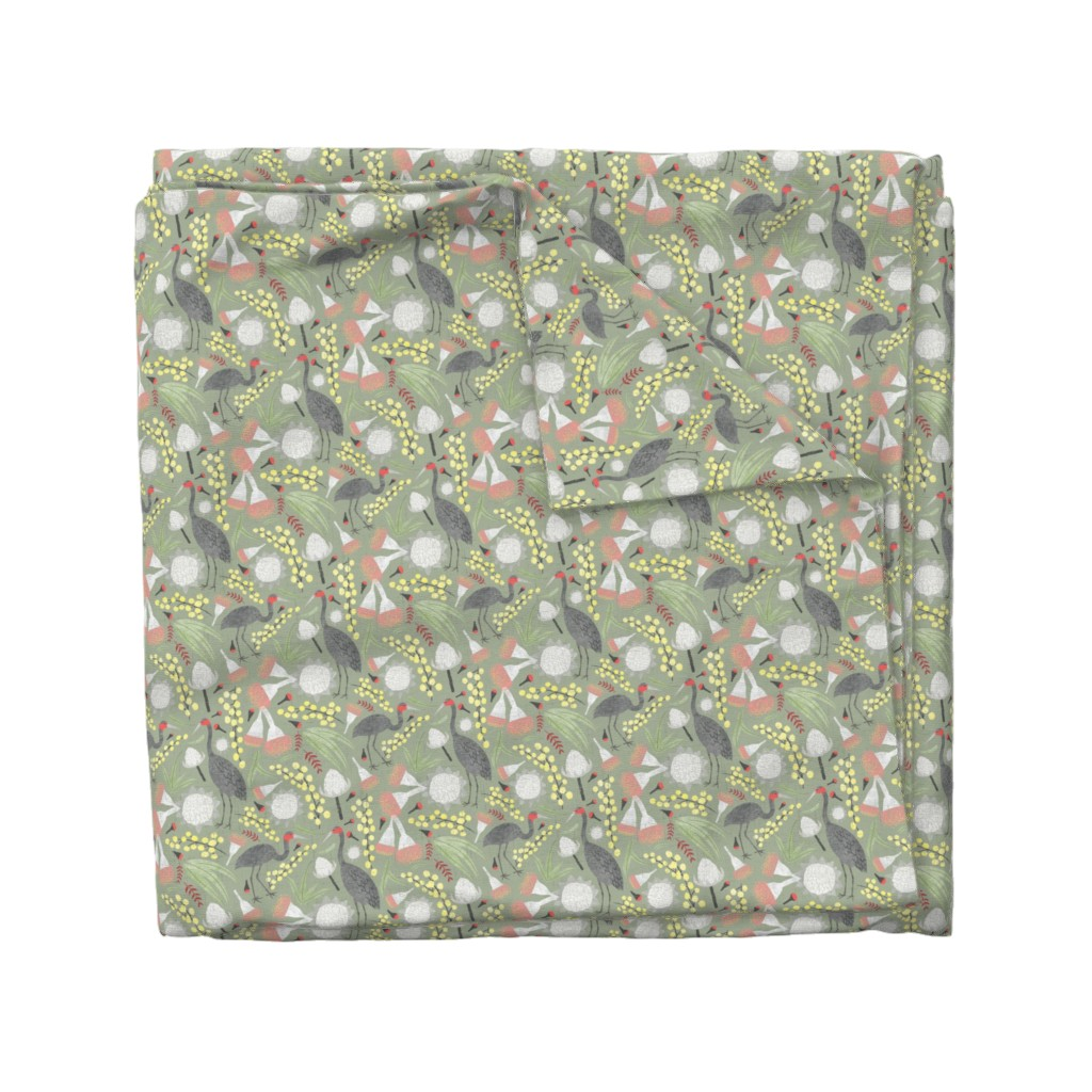 Wyandotte Duvet Cover featuring Brolgas and Blooms by arthousewife