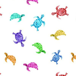 Rainbow watercolor turtles || colorful pattern for kid's playroom