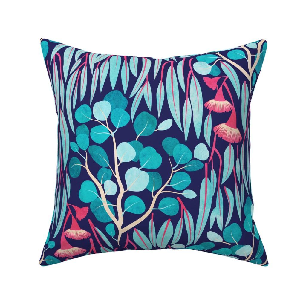 Catalan Throw Pillow featuring Australian Eucalyptus Garden // normal scale // teal and red by selmacardoso