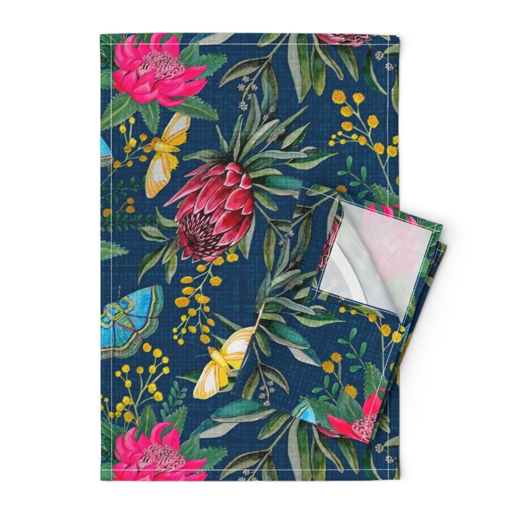 Orpington Tea Towels featuring  Protea, Golden Wattle and Watarah flowers with butterflies by magentarosedesigns
