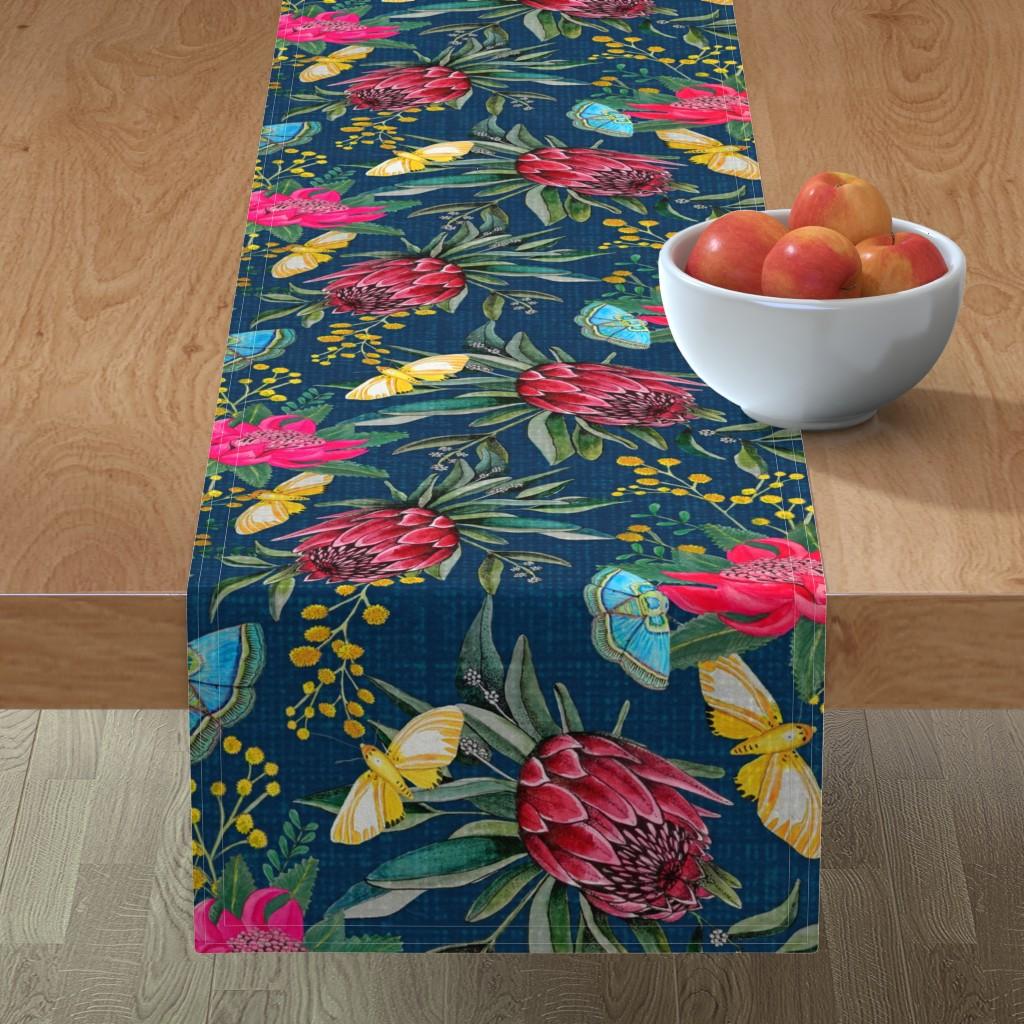 Minorca Table Runner featuring  Protea, Golden Wattle and Watarah flowers with butterflies by magentarosedesigns