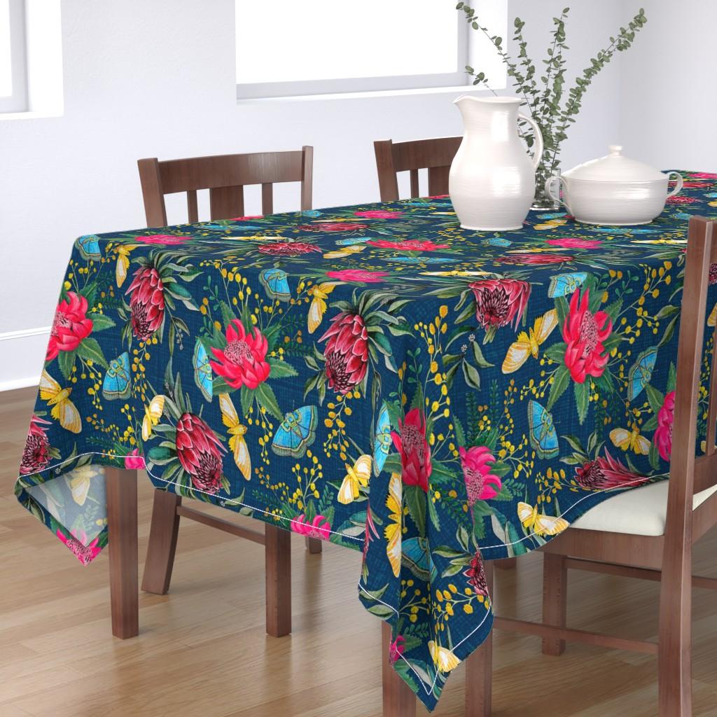 Bantam Rectangular Tablecloth featuring  Protea, Golden Wattle and Watarah flowers with butterflies by magentarosedesigns
