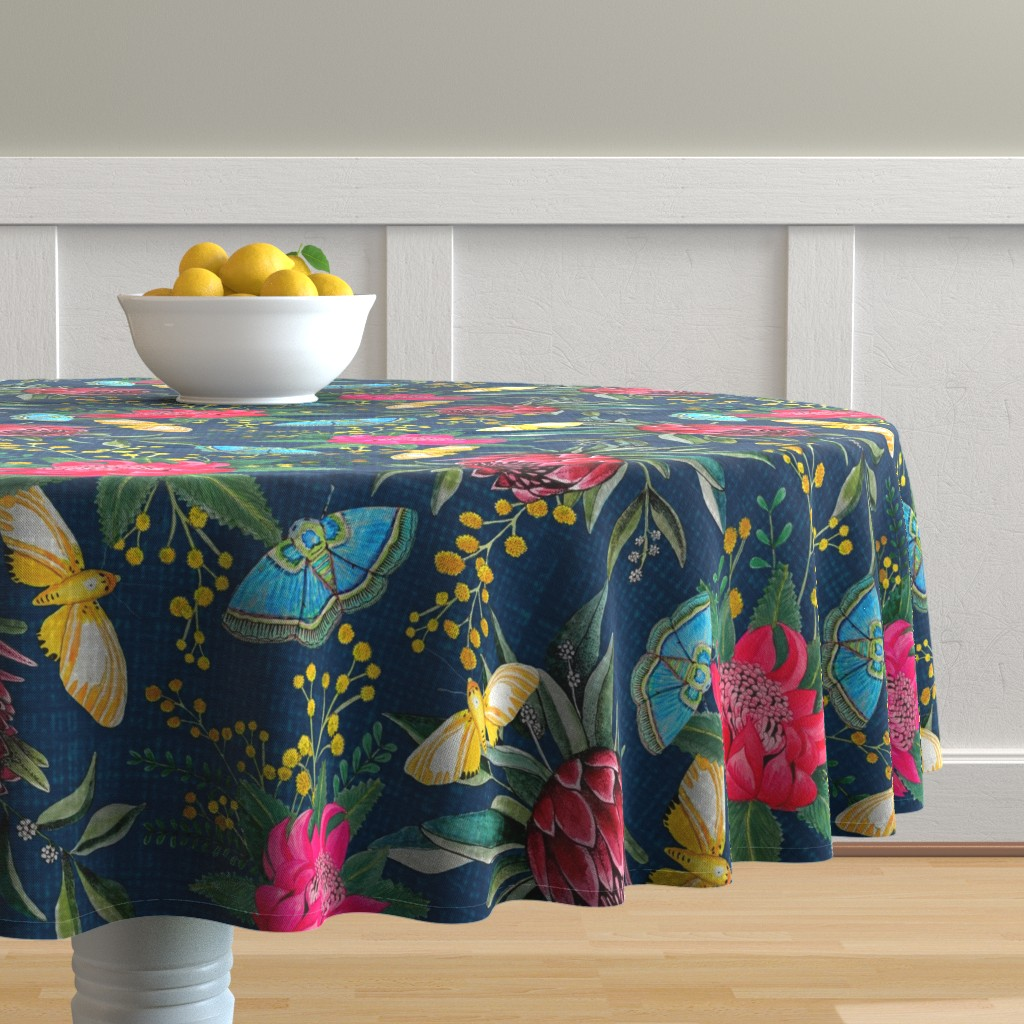 Malay Round Tablecloth featuring  Protea, Golden Wattle and Watarah flowers with butterflies by magentarosedesigns