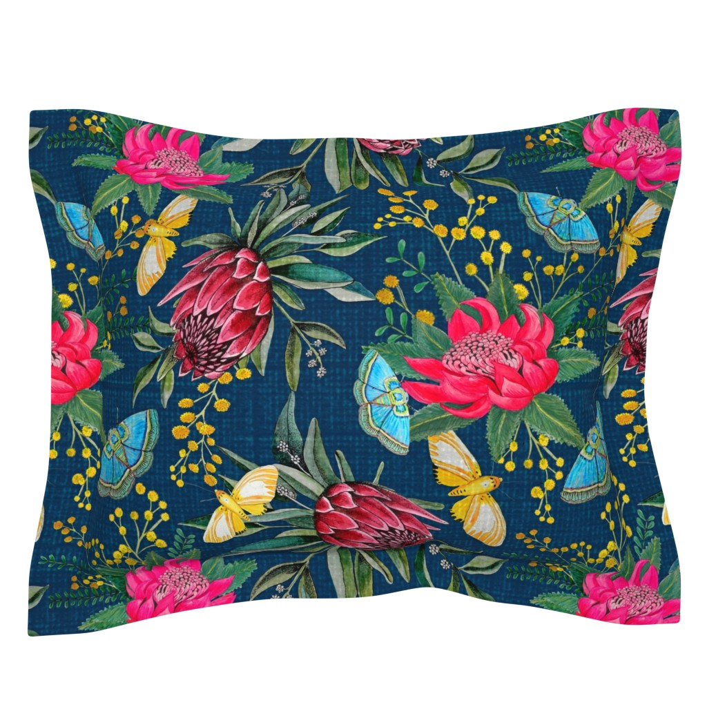Sebright Pillow Sham featuring  Protea, Golden Wattle and Watarah flowers with butterflies by magentarosedesigns
