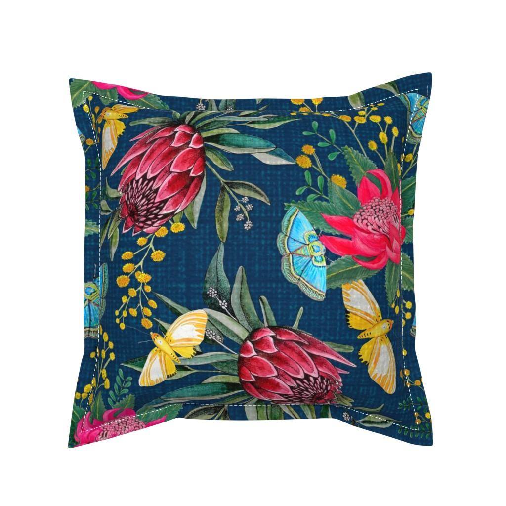 Serama Throw Pillow featuring  Protea, Golden Wattle and Watarah flowers with butterflies by magentarosedesigns