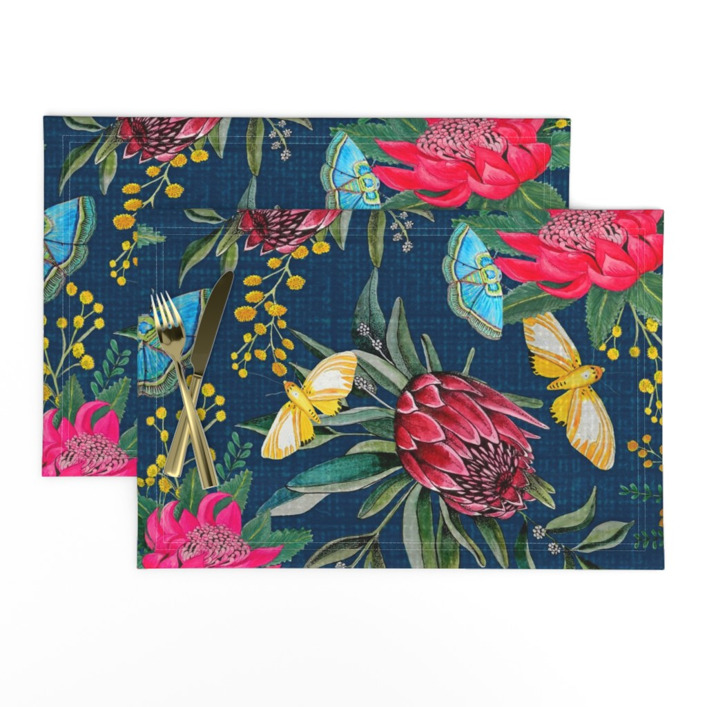 Lamona Cloth Placemats featuring  Protea, Golden Wattle and Watarah flowers with butterflies by magentarosedesigns