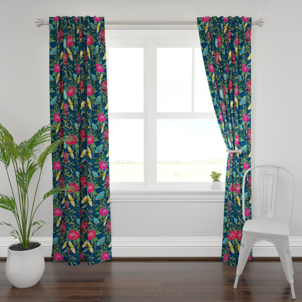 Plymouth Curtain Panel featuring  Protea, Golden Wattle and Watarah flowers with butterflies by magentarosedesigns