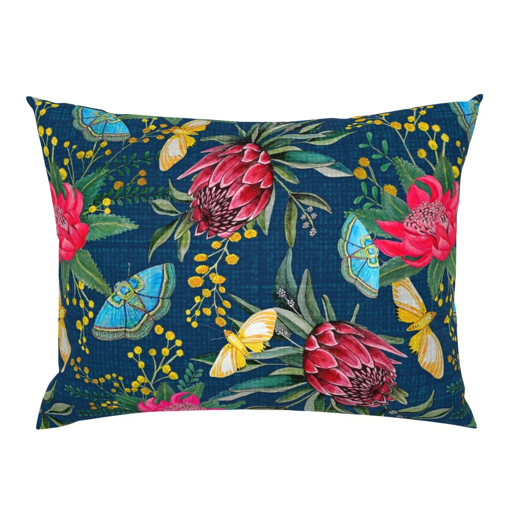 Campine Pillow Sham featuring  Protea, Golden Wattle and Watarah flowers with butterflies by magentarosedesigns
