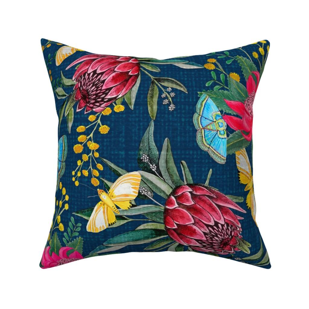 Catalan Throw Pillow featuring  Protea, Golden Wattle and Watarah flowers with butterflies by magentarosedesigns