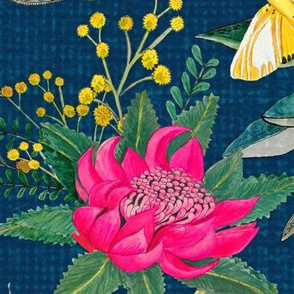 Protea, Golden Wattle and Watarah flowers with butterflies