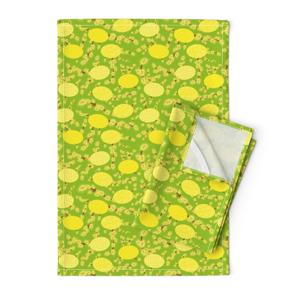 Orpington Tea Towels featuring easter eggs and catkins by rysunki_malunki