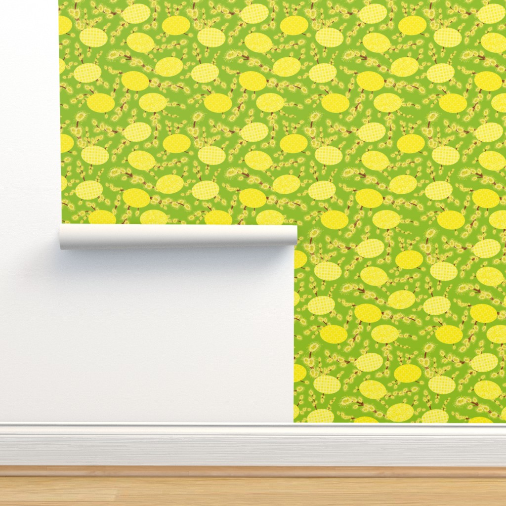 Isobar Durable Wallpaper featuring easter eggs and catkins by rysunki_malunki