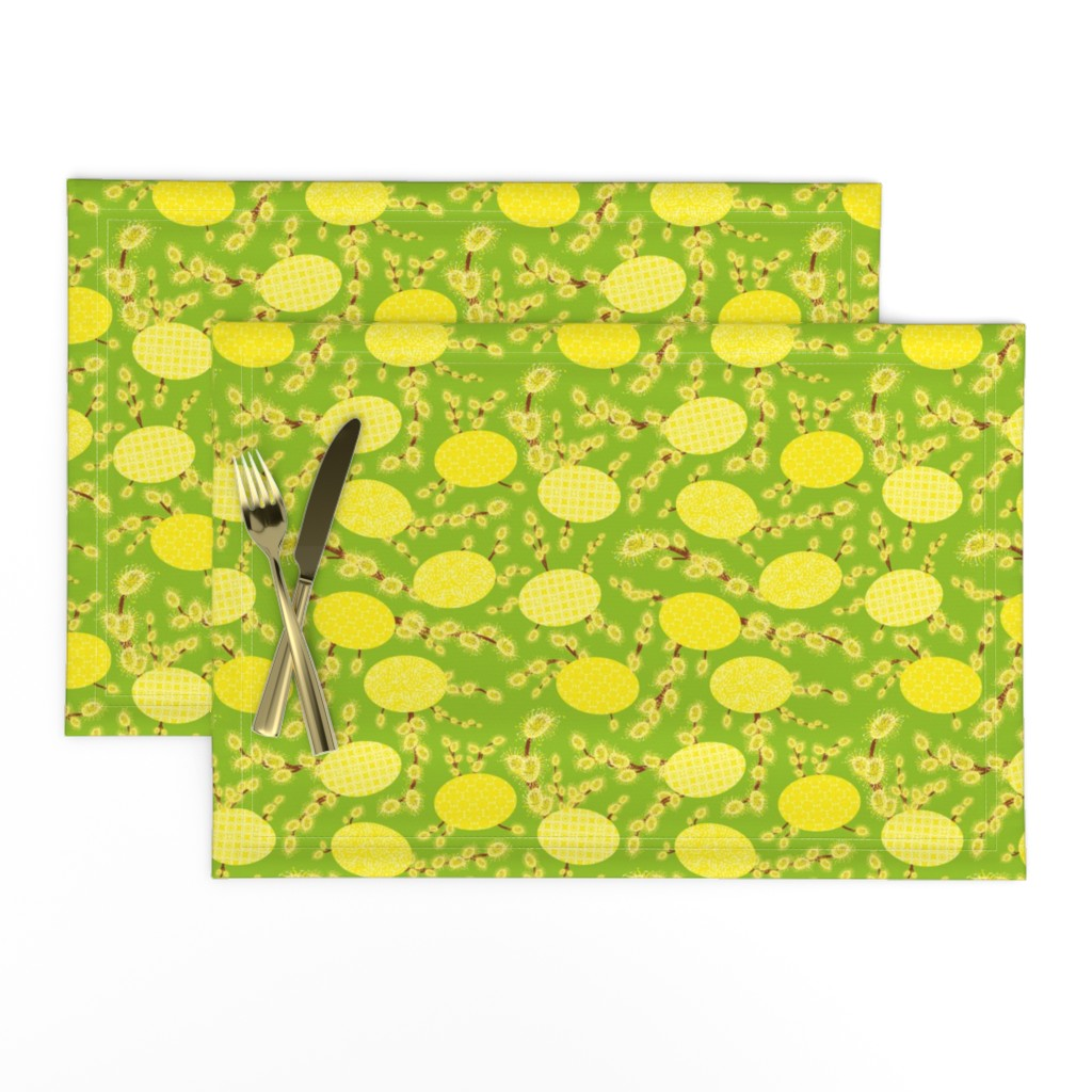 Lamona Cloth Placemats featuring easter eggs and catkins by rysunki_malunki