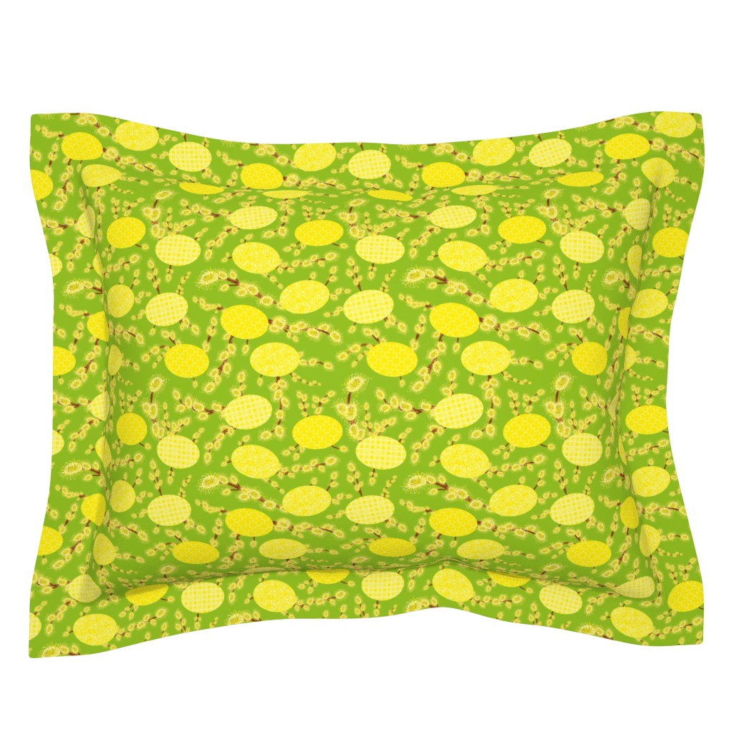 Sebright Pillow Sham featuring easter eggs and catkins by rysunki_malunki