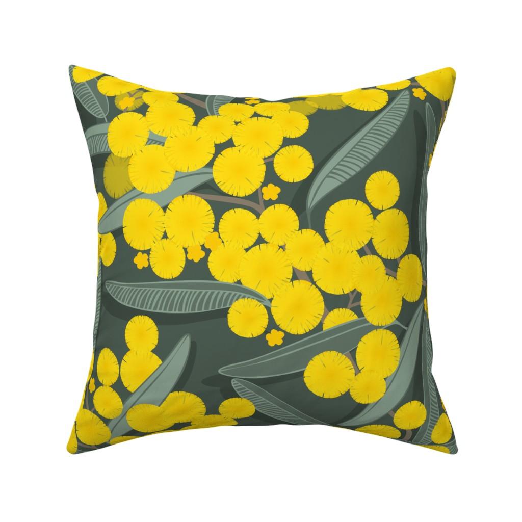 Catalan Throw Pillow featuring golden wattle on dark green by panimoni