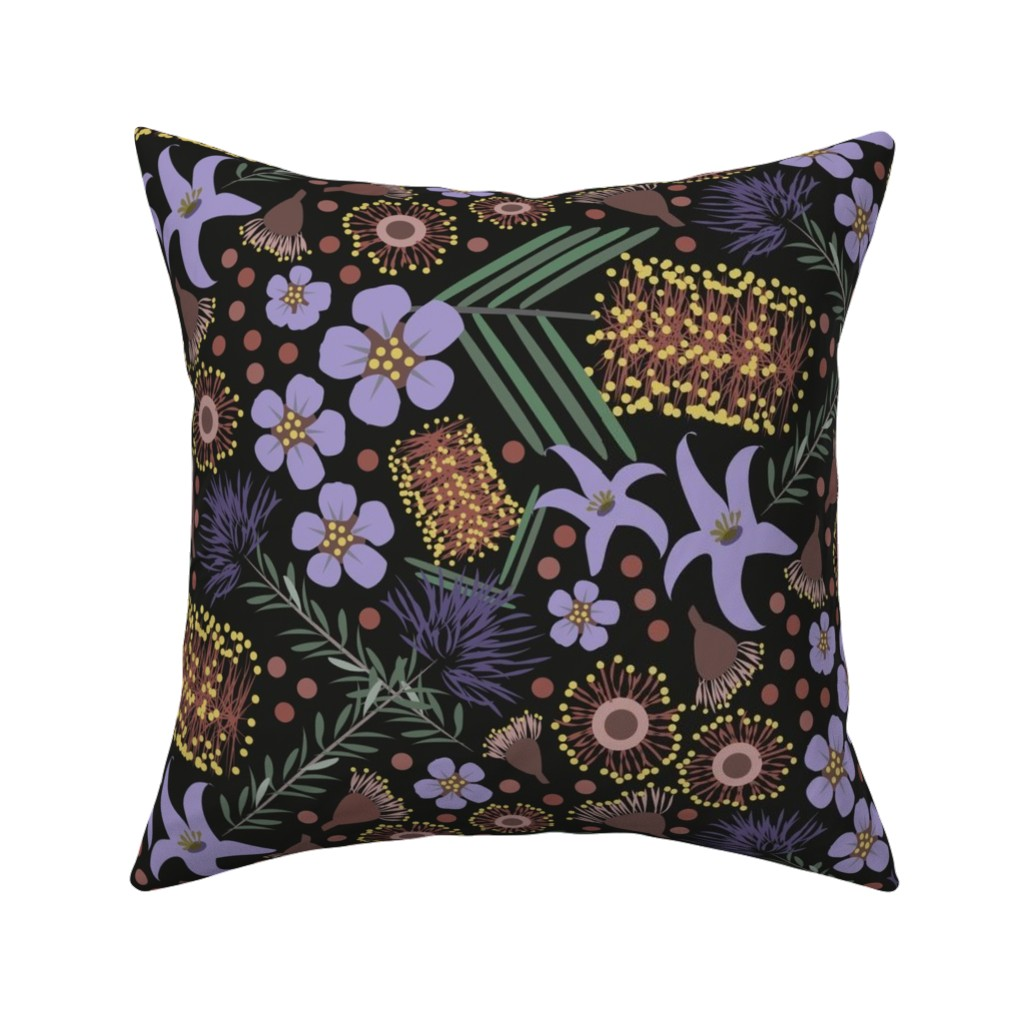 Catalan Throw Pillow featuring Native Flora night by colour_angel_by_kv