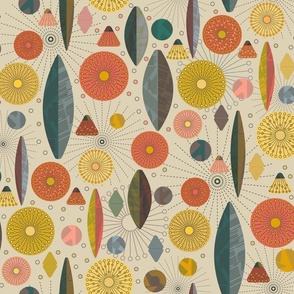 Mid Century Modern Abstract Floral- Large Scale